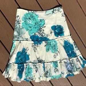 Anthropologie ( Odille ) ruffled floral skirt